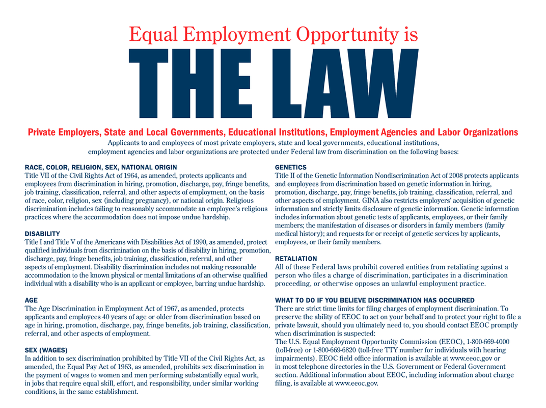 Equal Oppurtuniry Law Poster Provided by the State of Florida